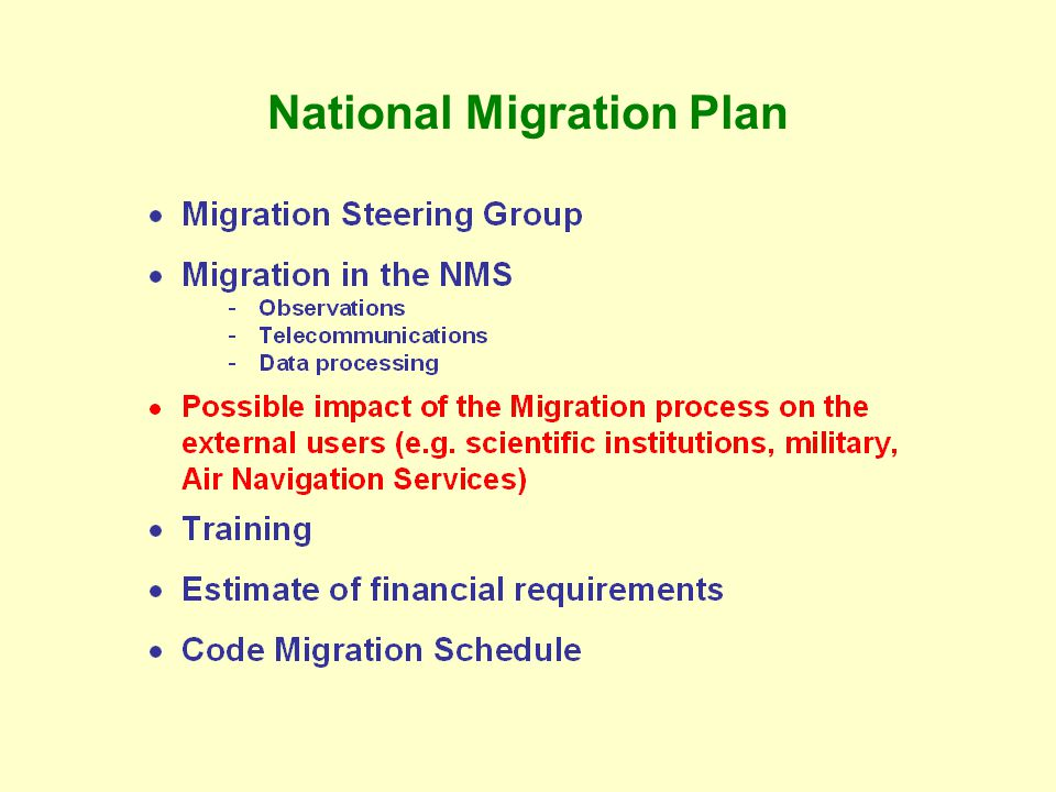 WMO Migration Plan Principles of the WMO Migration Plan  - ppt download