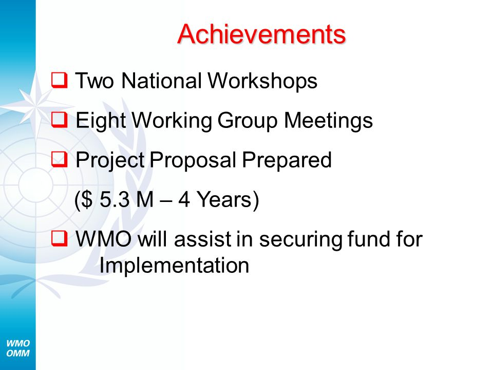 Achievements  Two National Workshops  Eight Working Group Meetings  Project Proposal Prepared ($ 5.3 M – 4 Years)  WMO will assist in securing fund for Implementation