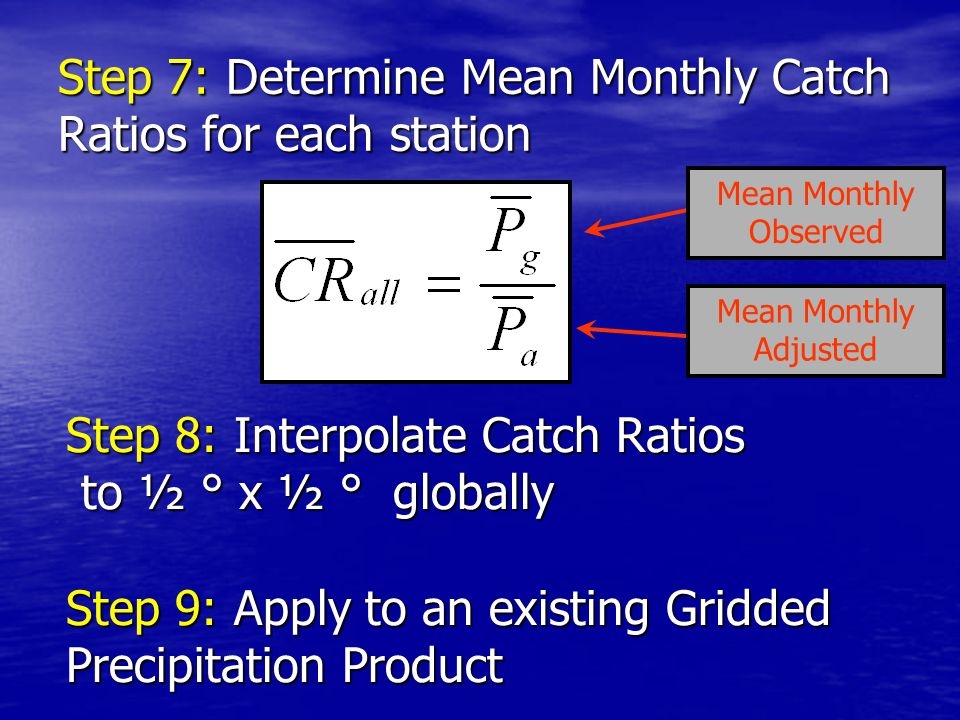 Step 7: Determine Mean Monthly Catch Ratios for each station Step 8: Interpolate Catch Ratios to ½ ° x ½ ° globally to ½ ° x ½ ° globally Step 9: Apply to an existing Gridded Precipitation Product Mean Monthly Observed Mean Monthly Adjusted