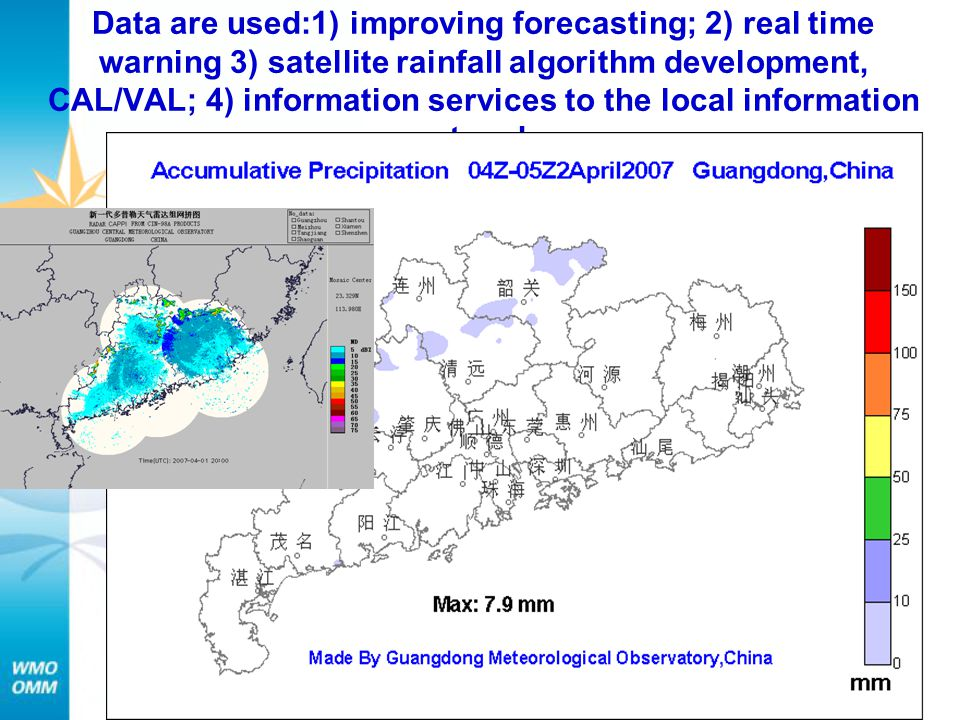 Data are used:1) improving forecasting; 2) real time warning 3) satellite rainfall algorithm development, CAL/VAL; 4) information services to the local information networks