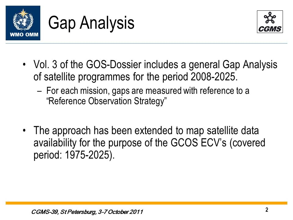 WMO OMM 2 CGMS-39, St Petersburg, 3-7 October 2011 Gap Analysis Vol.