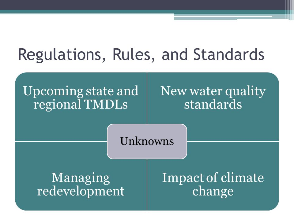Regulations, Rules, and Standards Upcoming state and regional TMDLs New water quality standards Managing redevelopment Impact of climate change Unknowns