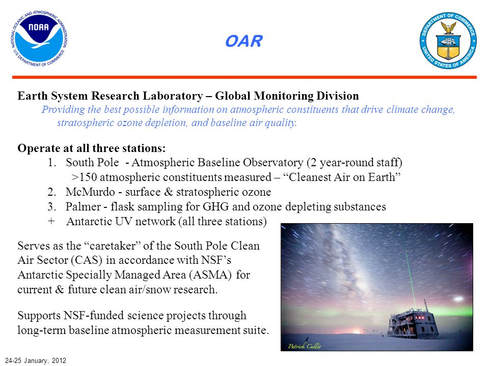OAR January, 2012 Earth System Research Laboratory – Global Monitoring Division Providing the best possible information on atmospheric constituents that drive climate change, stratospheric ozone depletion, and baseline air quality.
