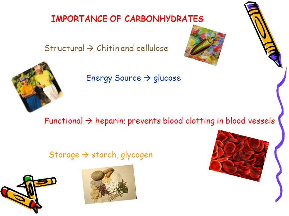 IMPORTANCE OF CARBONHYDRATES Structural  Chitin and cellulose Energy Source  glucose Functional  heparin; prevents blood clotting in blood vessels Storage  starch, glycogen