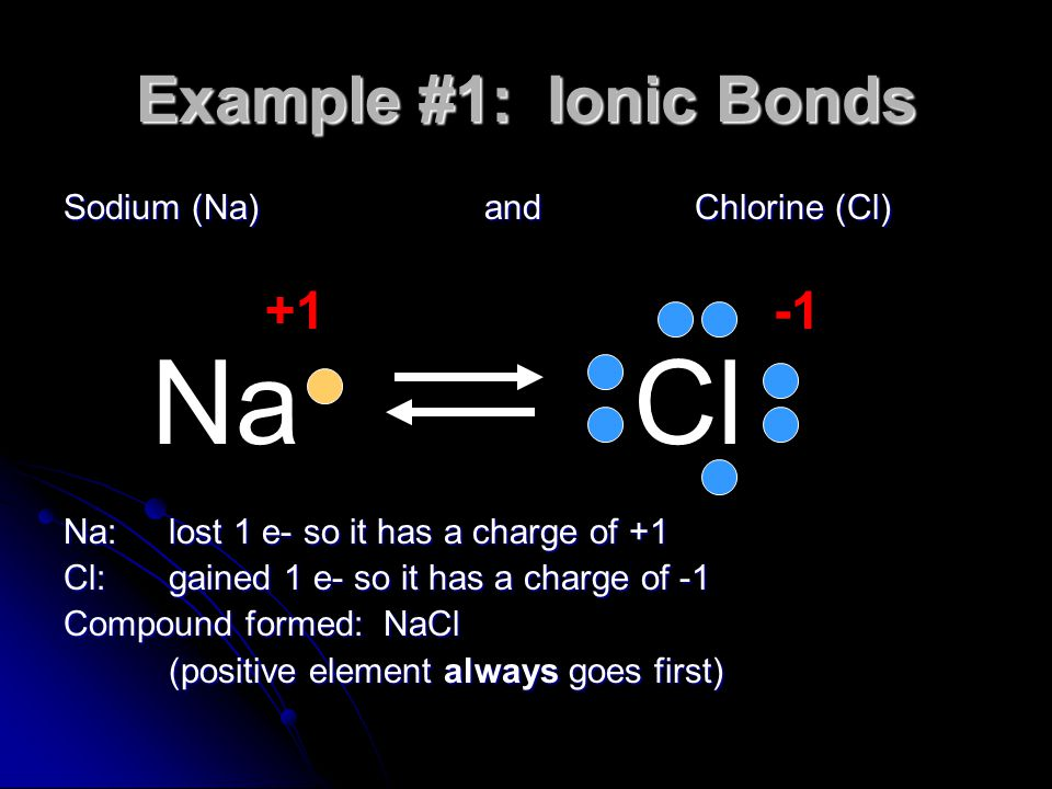 Example #1: Ionic Bonds Sodium (Na) and Chlorine (Cl) Na: lost 1 e- so it has a charge of +1 Cl:gained 1 e- so it has a charge of -1 Compound formed: NaCl (positive element always goes first) NaCl +1