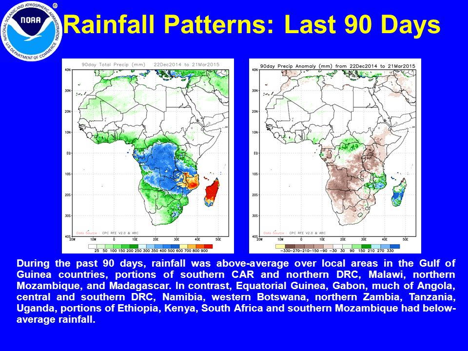 Rainfall Patterns: Last 90 Days During the past 90 days, rainfall was above-average over local areas in the Gulf of Guinea countries, portions of southern CAR and northern DRC, Malawi, northern Mozambique, and Madagascar.