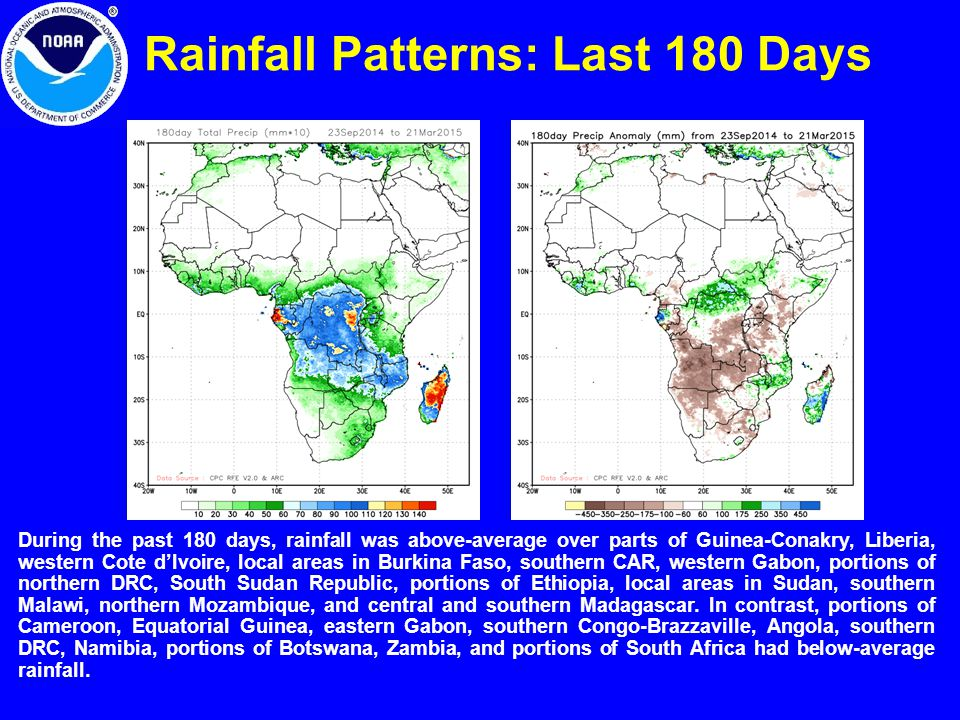 Rainfall Patterns: Last 180 Days During the past 180 days, rainfall was above-average over parts of Guinea-Conakry, Liberia, western Cote d'Ivoire, local areas in Burkina Faso, southern CAR, western Gabon, portions of northern DRC, South Sudan Republic, portions of Ethiopia, local areas in Sudan, southern Malawi, northern Mozambique, and central and southern Madagascar.