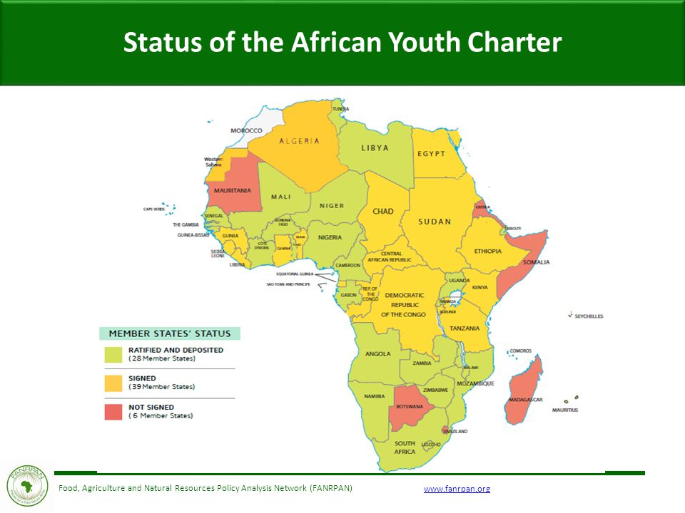 Food, Agriculture and Natural Resources Policy Analysis Network (FANRPAN) Status of the African Youth Charter