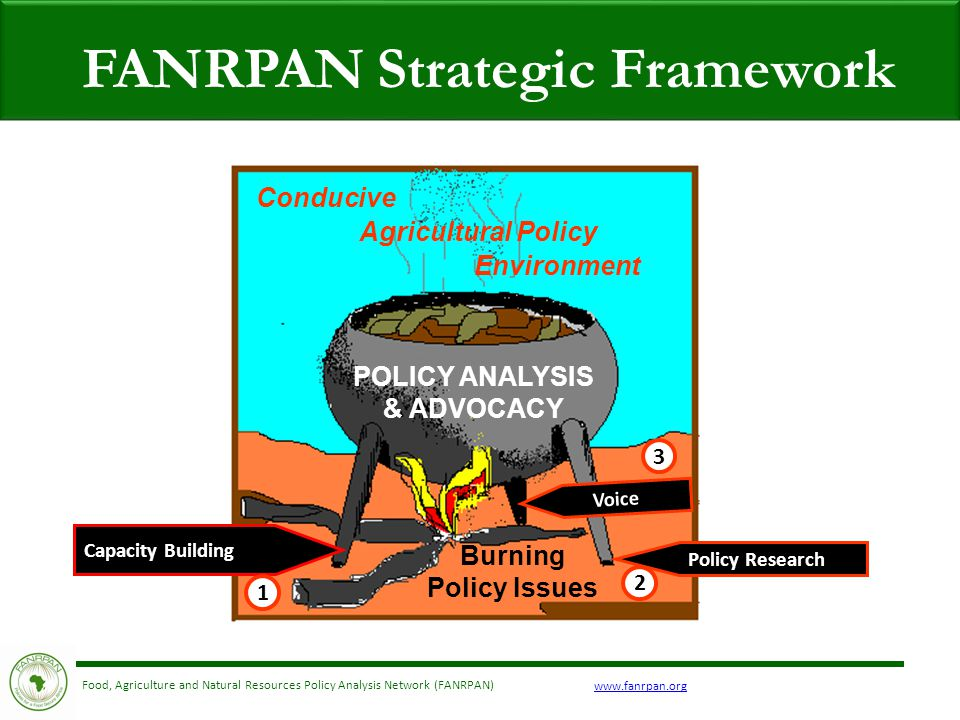Food, Agriculture and Natural Resources Policy Analysis Network (FANRPAN) FANRPAN Strategic Framework Capacity Building Policy Research Voice Conducive Environment POLICY ANALYSIS & ADVOCACY Agricultural Policy Burning Policy Issues