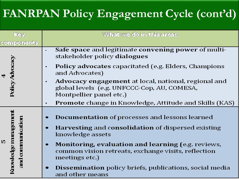 Food, Agriculture and Natural Resources Policy Analysis Network (FANRPAN) FANRPAN Policy Engagement Cycle (cont'd)