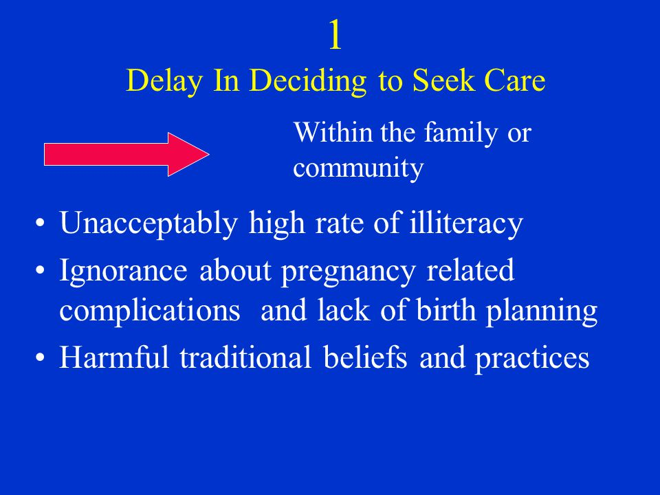 1 Delay In Deciding to Seek Care Unacceptably high rate of illiteracy Ignorance about pregnancy related complications and lack of birth planning Harmful traditional beliefs and practices Within the family or community