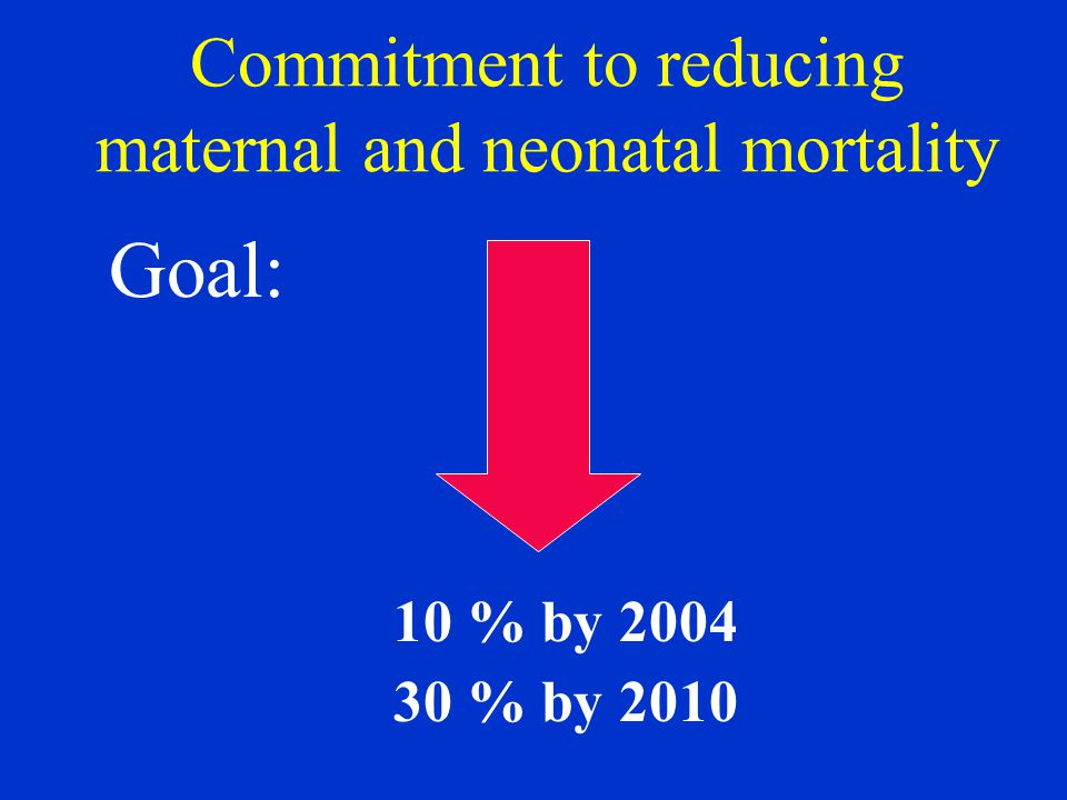 Commitment to reducing maternal and neonatal mortality Goal: 10 % by % by 2010