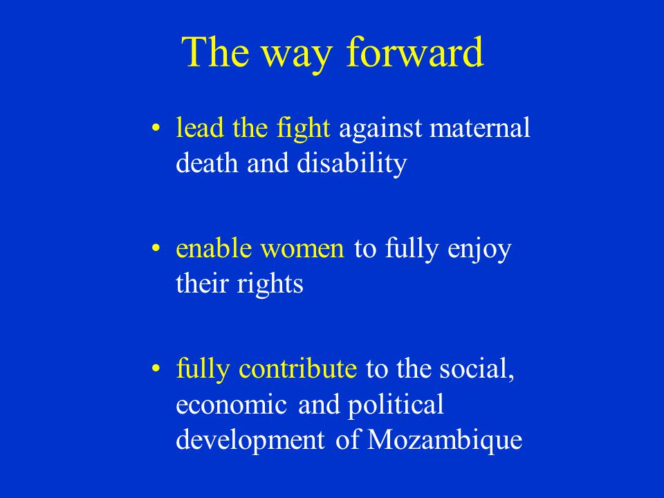 The way forward lead the fight against maternal death and disability enable women to fully enjoy their rights fully contribute to the social, economic and political development of Mozambique
