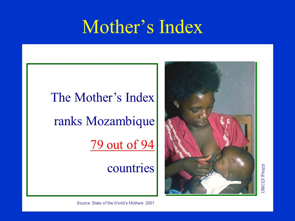 Mother's Index The Mother's Index ranks Mozambique 79 out of 94 countries UNICEF/Pirozzi Source: State of the World's Mothers 2001