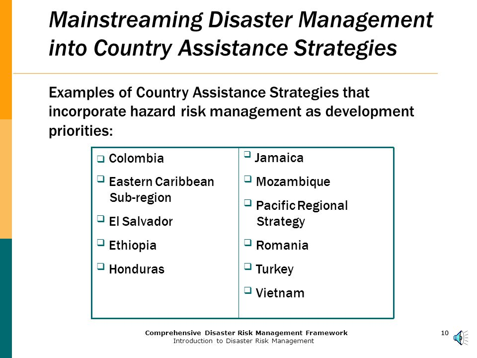 9Comprehensive Disaster Risk Management Framework Introduction to Disaster Risk Management 9 World Bank Efforts on HRM Aim to:  Provide a systematic treatment of HRM at policy and operational levels  Provide a framework for: Making hazard risk a standard feature of relevant Country Assistance Strategies and Poverty Reduction Strategy Papers Assisting clients to develop proactive, national strategies for HRM Developing lending programs that build capacity for effective risk reduction and risk financing Introducing more effective financing and risk transfer mechanisms