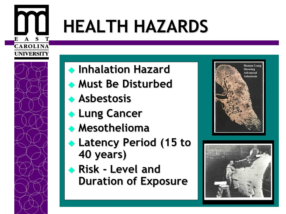 HEALTH HAZARDS  Inhalation Hazard  Must Be Disturbed  Asbestosis  Lung Cancer  Mesothelioma  Latency Period (15 to 40 years)  Risk - Level and Duration of Exposure
