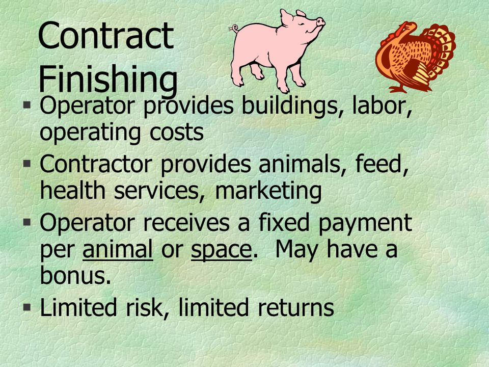 Contract Finishing §Operator provides buildings, labor, operating costs §Contractor provides animals, feed, health services, marketing §Operator receives a fixed payment per animal or space.