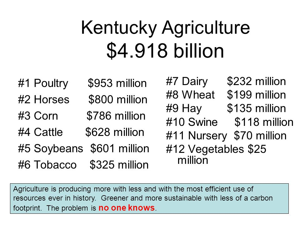 Kentucky Agriculture $4.918 billion #1 Poultry $953 million #2 Horses $800 million #3 Corn $786 million #4 Cattle $628 million #5 Soybeans $601 million #6 Tobacco $325 million #7 Dairy $232 million #8 Wheat $199 million #9 Hay $135 million #10 Swine $118 million #11 Nursery $70 million #12 Vegetables $25 million Agriculture is producing more with less and with the most efficient use of resources ever in history.