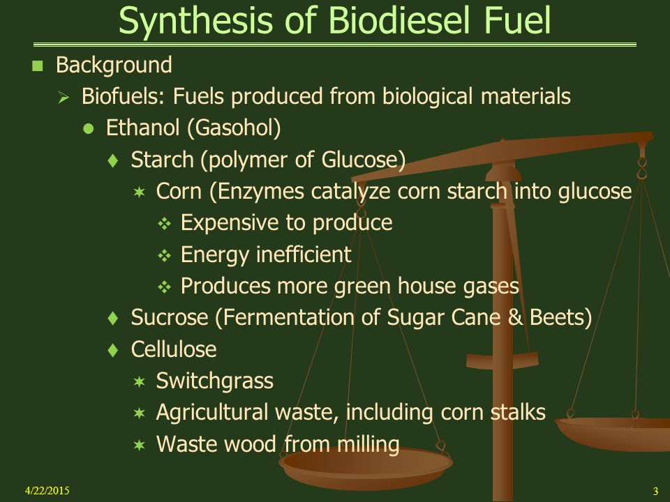 Synthesis Of Biodiesel Fuel From Vegetable Oil References  Pavia   Synthesis