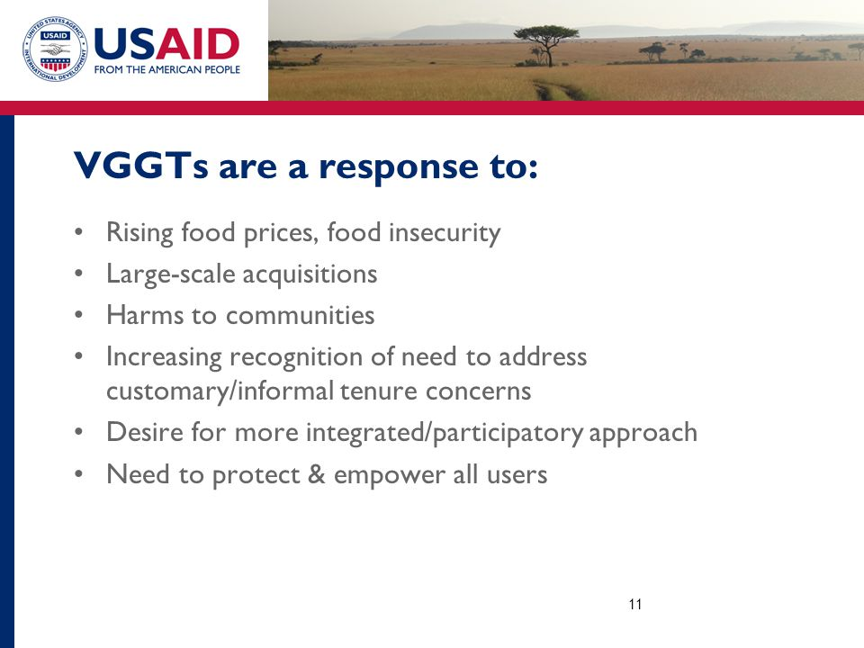 VGGTs are a response to: Rising food prices, food insecurity Large-scale acquisitions Harms to communities Increasing recognition of need to address customary/informal tenure concerns Desire for more integrated/participatory approach Need to protect & empower all users 11
