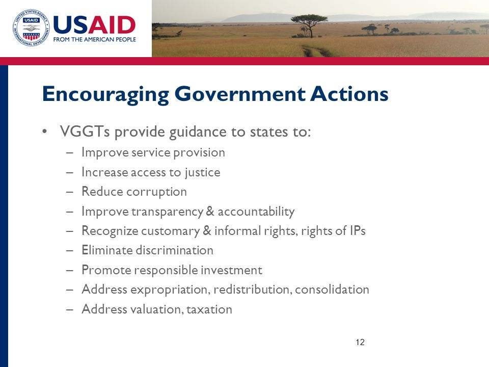 Encouraging Government Actions VGGTs provide guidance to states to: –Improve service provision –Increase access to justice –Reduce corruption –Improve transparency & accountability –Recognize customary & informal rights, rights of IPs –Eliminate discrimination –Promote responsible investment –Address expropriation, redistribution, consolidation –Address valuation, taxation 12