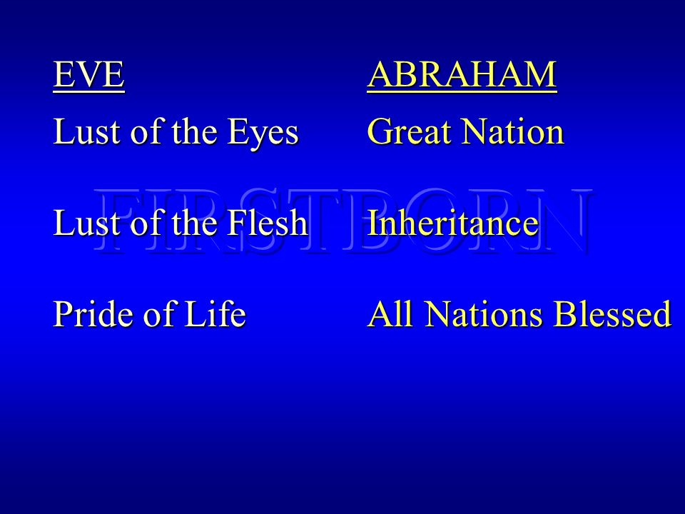 EVE Lust of the Eyes Lust of the Flesh Pride of Life ABRAHAM Great Nation Inheritance All Nations Blessed