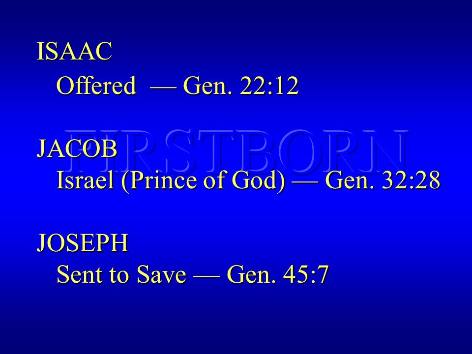 ISAAC Offered — Gen. 22:12 Offered — Gen. 22:12JACOB Israel (Prince of God) — Gen.