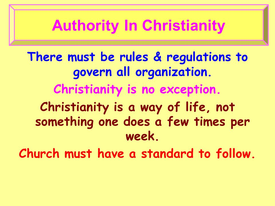 Authority In Christianity There must be rules & regulations to govern all organization.