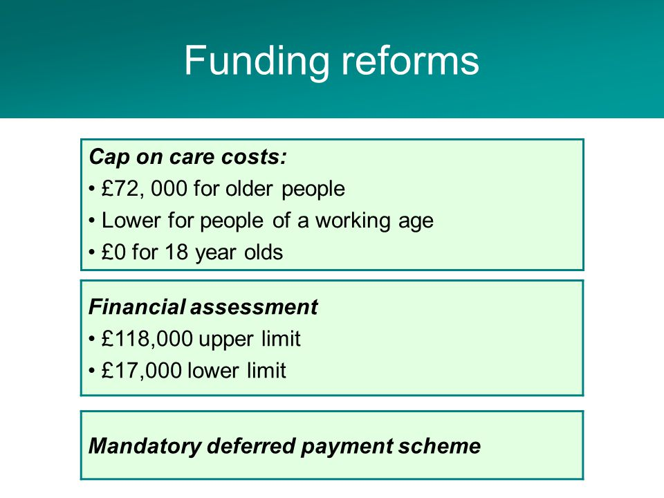Adult Social Care Project Financial assessment £118,000 upper limit £17,000 lower limit Cap on care costs: £72, 000 for older people Lower for people of a working age £0 for 18 year olds Funding reforms Mandatory deferred payment scheme