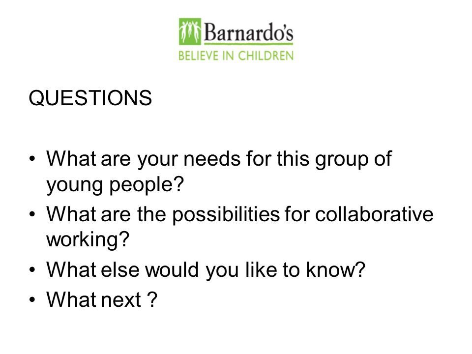QUESTIONS What are your needs for this group of young people.