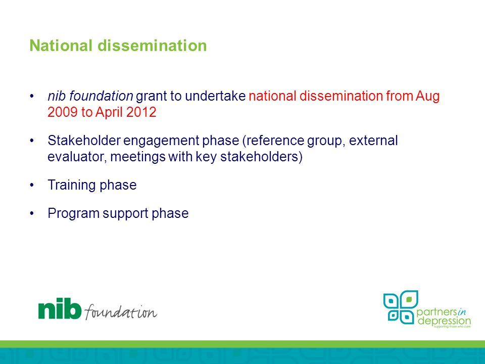 National dissemination nib foundation grant to undertake national dissemination from Aug 2009 to April 2012 Stakeholder engagement phase (reference group, external evaluator, meetings with key stakeholders) Training phase Program support phase