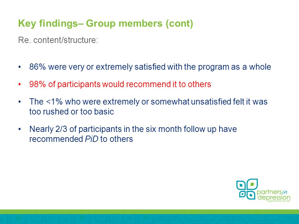 Key findings– Group members (cont) Re.