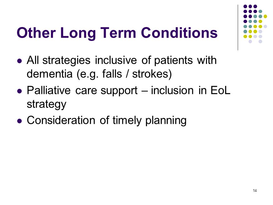 14 Other Long Term Conditions All strategies inclusive of patients with dementia (e.g.