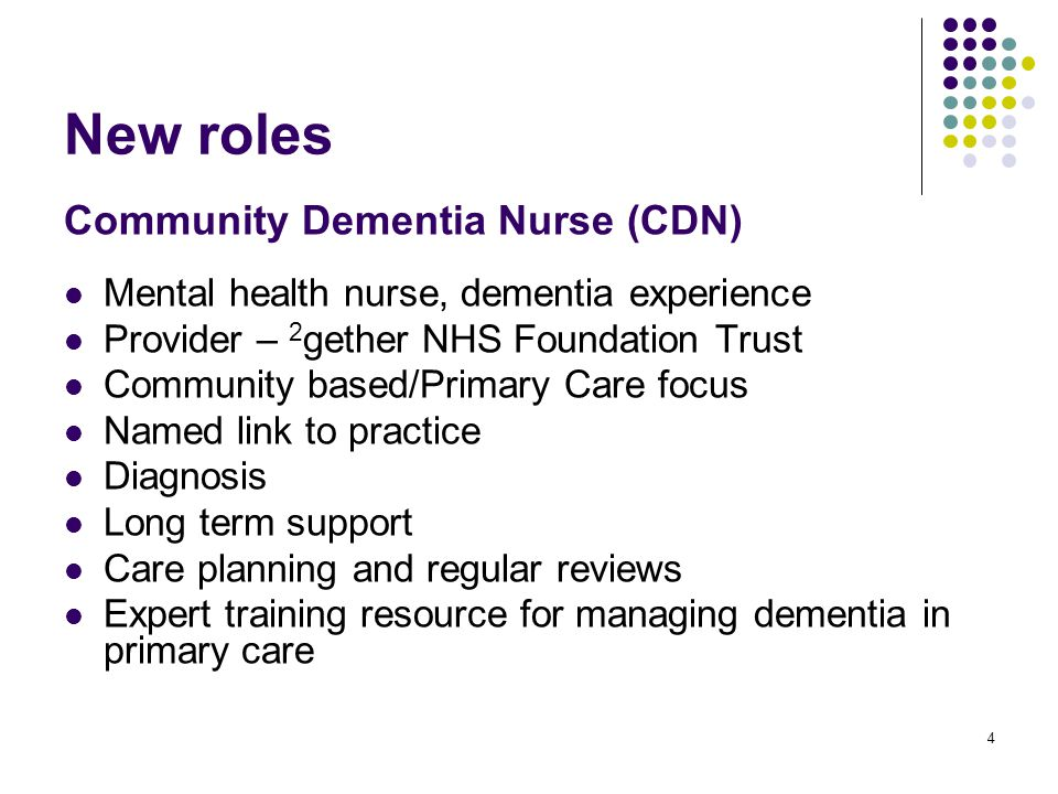 4 New roles Community Dementia Nurse (CDN) Mental health nurse, dementia experience Provider – 2 gether NHS Foundation Trust Community based/Primary Care focus Named link to practice Diagnosis Long term support Care planning and regular reviews Expert training resource for managing dementia in primary care