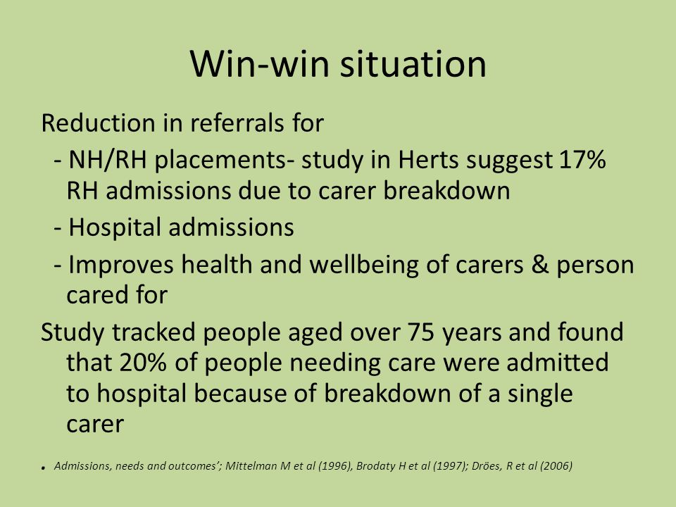 Win-win situation Reduction in referrals for - NH/RH placements- study in Herts suggest 17% RH admissions due to carer breakdown - Hospital admissions - Improves health and wellbeing of carers & person cared for Study tracked people aged over 75 years and found that 20% of people needing care were admitted to hospital because of breakdown of a single carer.