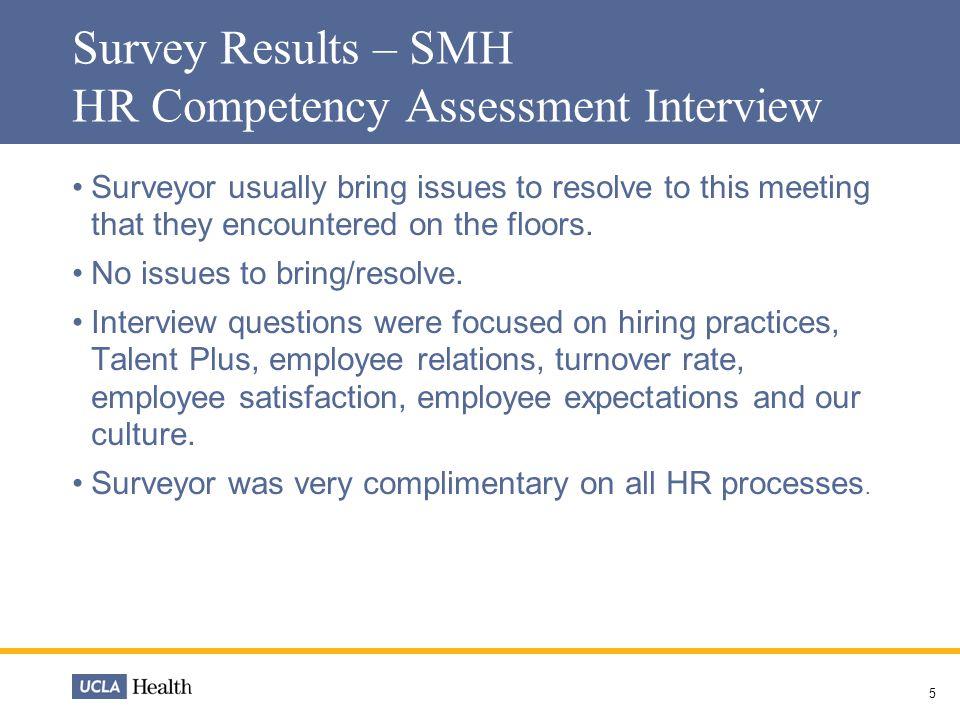Human Resource Updates September Survey Results - SMH TJC