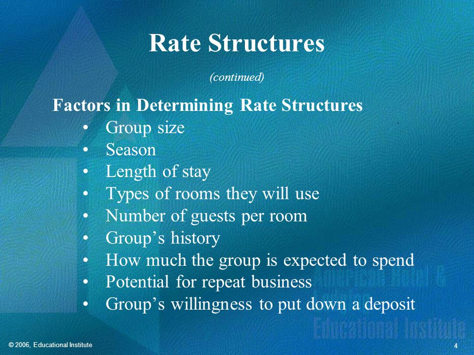 © 2006, Educational Institute 4 Rate Structures Factors in Determining Rate Structures Group size Season Length of stay Types of rooms they will use Number of guests per room Group's history How much the group is expected to spend Potential for repeat business Group's willingness to put down a deposit (continued)