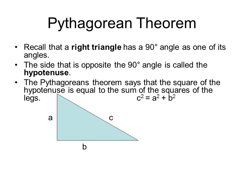 right triangle trigonometry day 1 pythagorean theorem recall that a