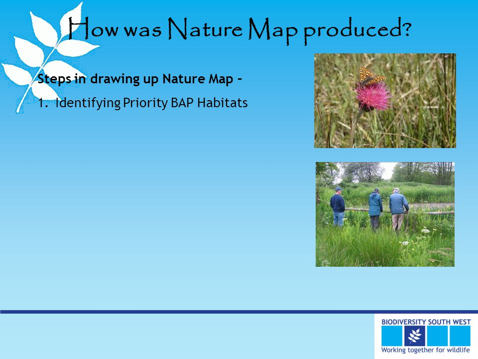 How was Nature Map produced Steps in drawing up Nature Map – 1.Identifying Priority BAP Habitats