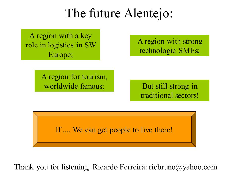 The future Alentejo: A region with a key role in logistics in SW Europe; A region for tourism, worldwide famous; A region with strong technologic SMEs; But still strong in traditional sectors.