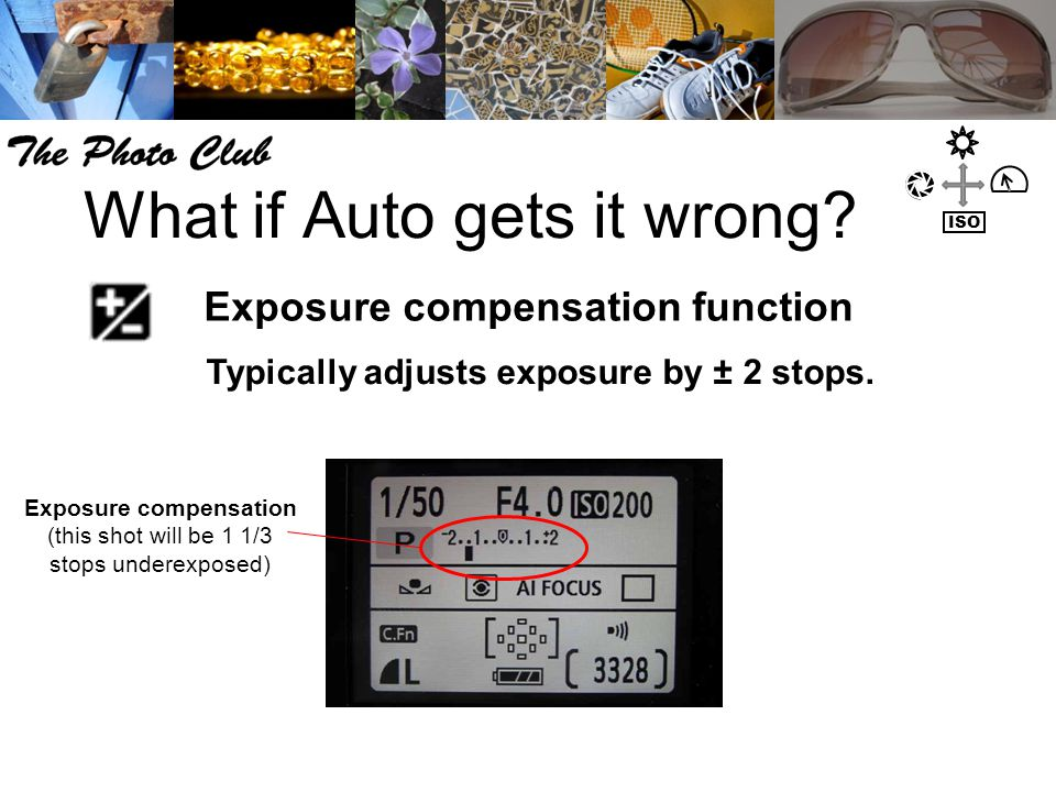 What if Auto gets it wrong. Exposure compensation function Typically adjusts exposure by ± 2 stops.