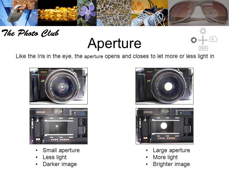 Aperture Like the Iris in the eye, the aperture opens and closes to let more or less light in Small aperture Less light Darker image Large aperture More light Brighter image ISO
