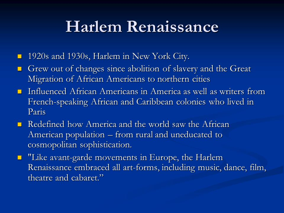 Harlem Renaissance 1920s and 1930s, Harlem in New York City.
