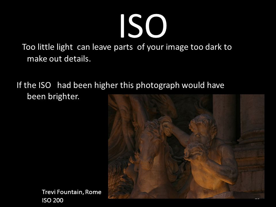 ISO Too little light can leave parts of your image too dark to make out details.