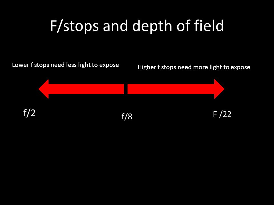 F/stops and depth of field Depth of Field decreases Depth of Field increases Lower f stops need less light to expose Higher f stops need more light to expose F /22 f/2 f/8