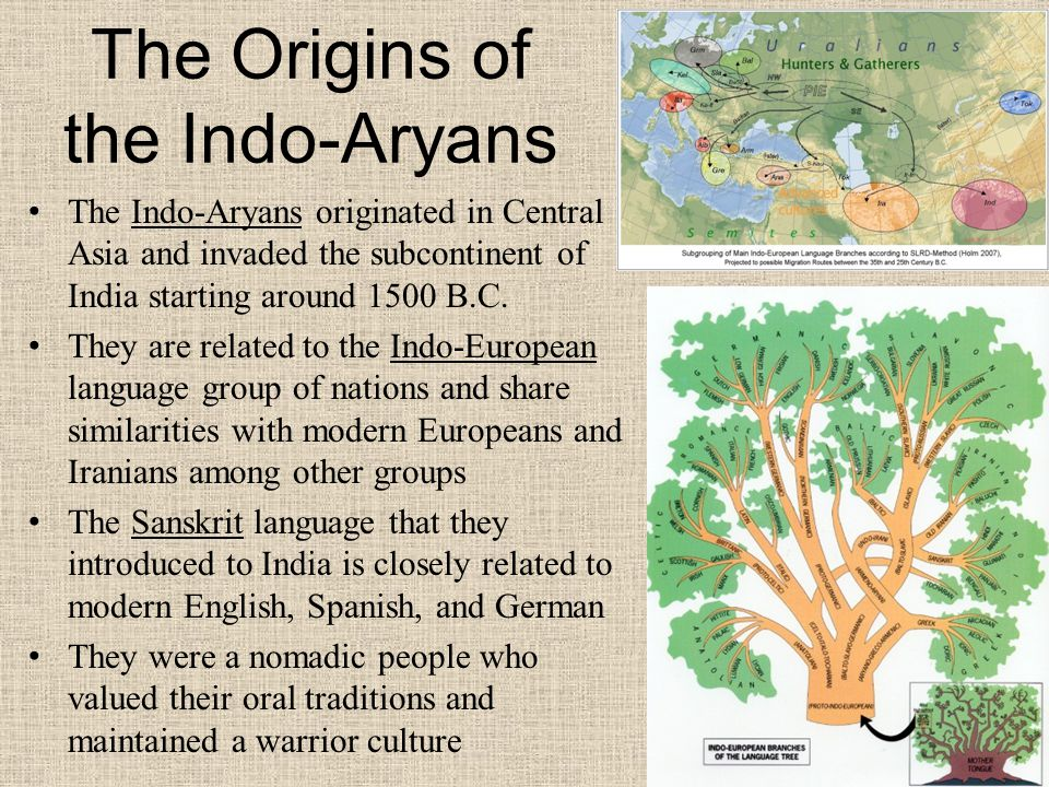 The Origins of the Indo-Aryans The Indo-Aryans originated in Central Asia and invaded the subcontinent of India starting around 1500 B.C.