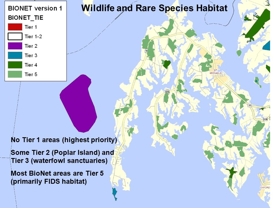 No Tier 1 areas (highest priority) Some Tier 2 (Poplar Island) and Tier 3 (waterfowl sanctuaries) Most BioNet areas are Tier 5 (primarily FIDS habitat) Wildlife and Rare Species Habitat