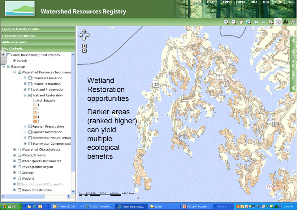 Wetland Restoration opportunities Darker areas (ranked higher) can yield multiple ecological benefits