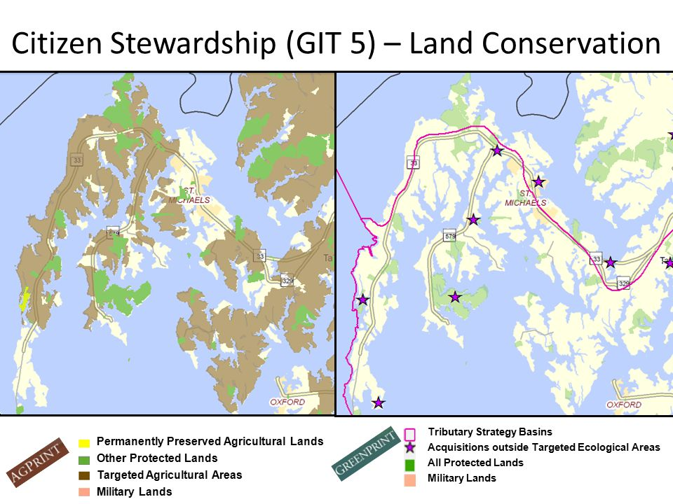 Citizen Stewardship (GIT 5) – Land Conservation Tributary Strategy Basins Acquisitions outside Targeted Ecological Areas All Protected Lands Military Lands Permanently Preserved Agricultural Lands Other Protected Lands Targeted Agricultural Areas Military Lands