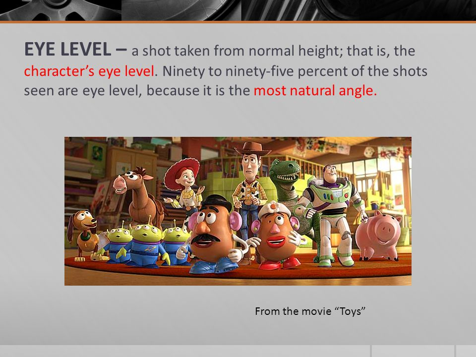 EYE LEVEL – a shot taken from normal height; that is, the character's eye level.